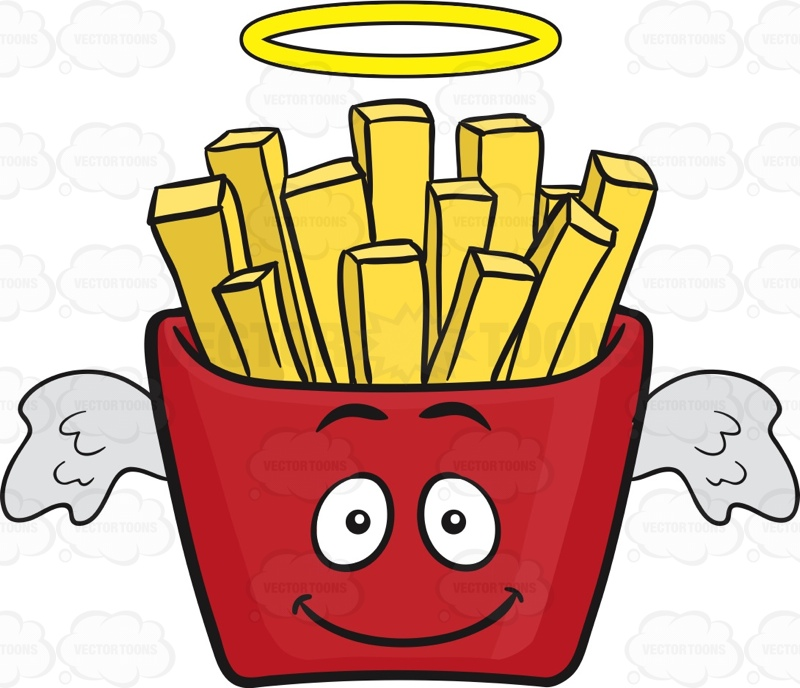 Angel Red Pack Of French Fries Emoji Cartoon Clipart.