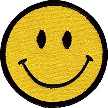1 X Smiley Happy / Smile Face Logo Badge Iron on Patches (Dia. 2 3/4\