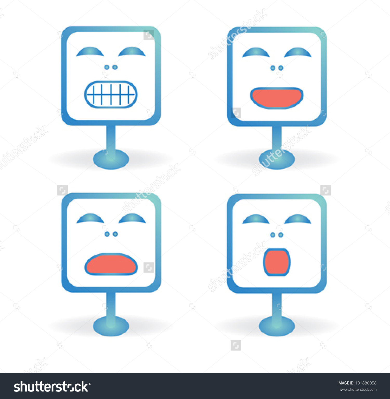 Four Icons Smiley Face In The Different Emotions On The Blue.