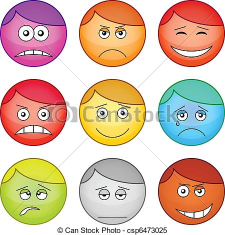 Clipart Vector of Smilies round, set.