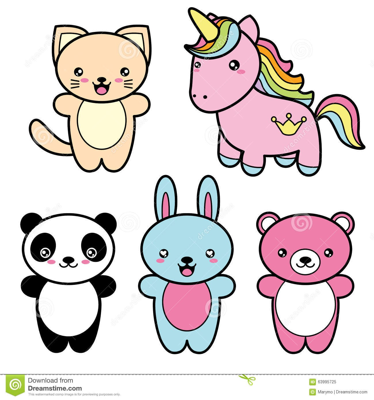 At Kawaii Animal Clipart Set Collection Cute Style Happy.
