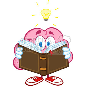5841 Royalty Free Clip Art Smiling Brain Cartoon Character Reading A Book  Under Light Bulb clipart. Royalty.