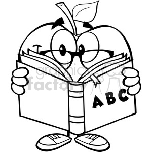 5956 Royalty Free Clip Art Smiling Apple Teacher Character Reading A Book  clipart. Royalty.