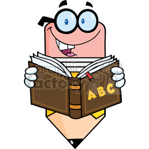 5916 Royalty Free Clip Art Smiling Pencil Teacher Character Reading A Shool  Book clipart. Royalty.
