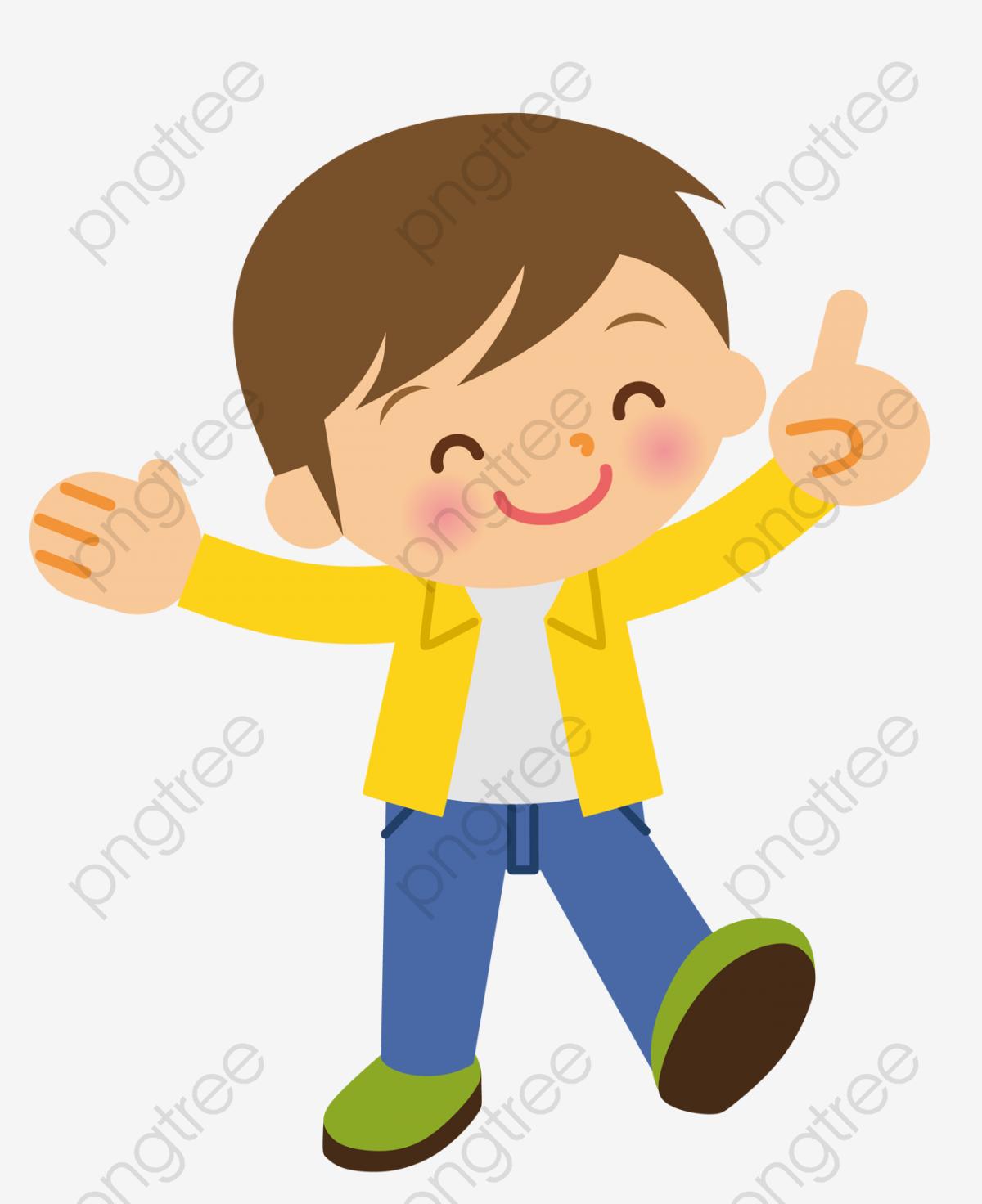 Cartoon Hand Painted Smiling Boy, Cartoon Clipart, Cartoon.