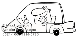 A Smiling Man Driving a Car In Black and White Clipart Image.