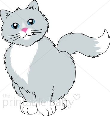 Gray Smiling Cat Clipart.