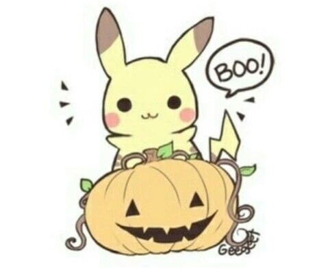 Happy Halloween, Pikachu, pumpkin, text, cute, chibi; Pokemon.
