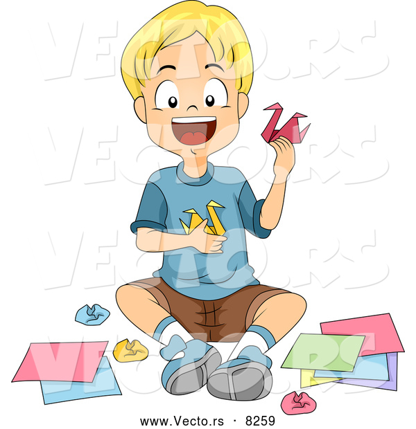 Vector of a Smiling Cartoon School Boy Making Origami Swans in.