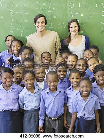 Pictures of Students and teachers smiling in class 412.