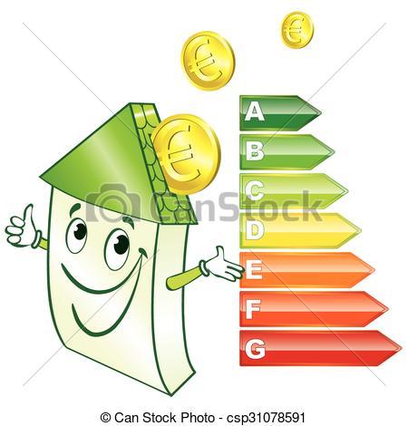 EPS Vectors of Smiling home class energy csp31078591.
