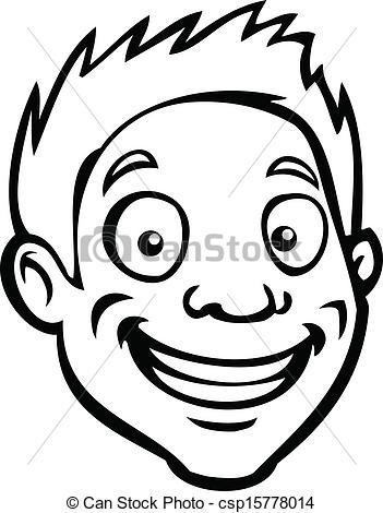 Vector Clip Art of Black and white male cartoon head.