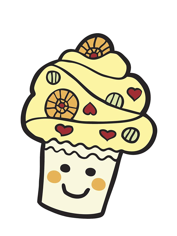 Amazon.com: Cute Smiling Cupcake Emoji Vinyl Decal Sticker.