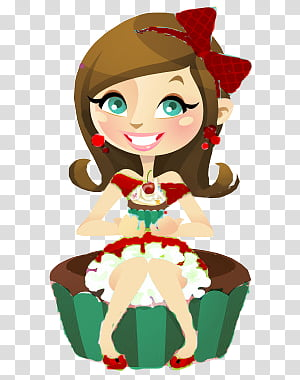 Woman sitting on cupcake chair smiling transparent.