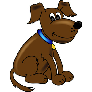 Clip art of a smiling dog.