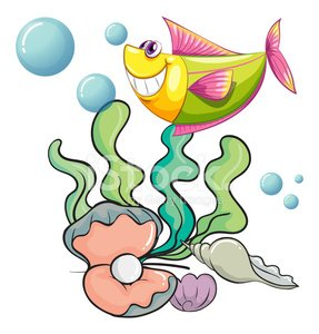Smiling fish under the sea near the shells Clipart Image.