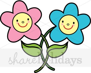 Smiling Flowers Clipart.