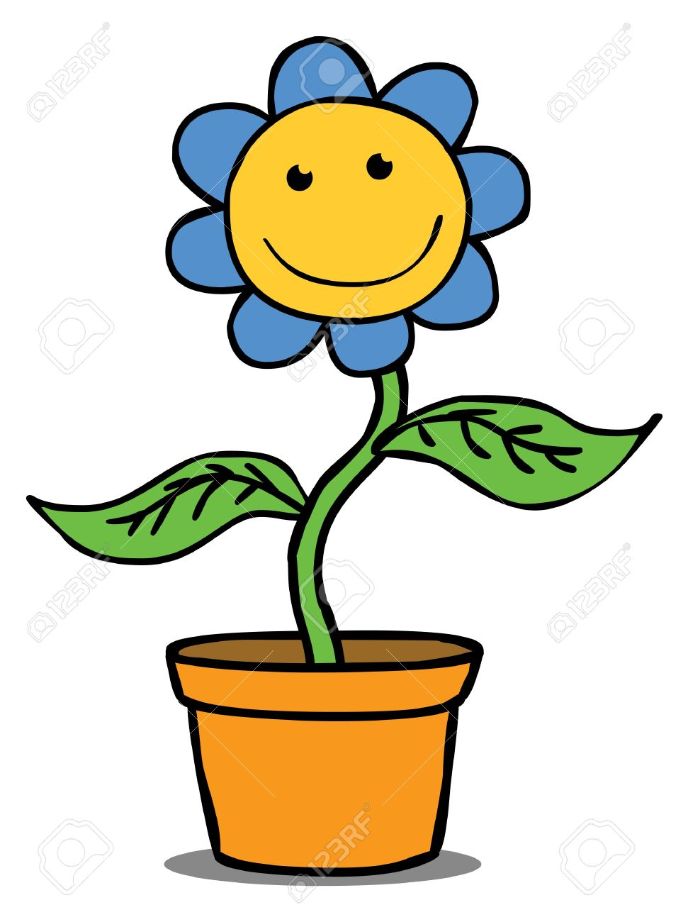 Represent A Smiling Flower In A Pot Well Layered Vector EPS.