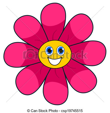 Vector Clip Art of a smiling pink flower csp19745515.