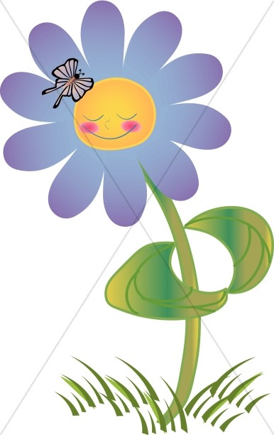 Purple Smiling Flower with Butterfly.