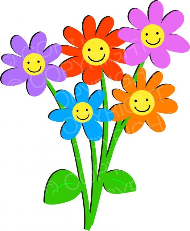 Bunch of Happy Smiling Flowers Prawny Clip Art Cartoons.