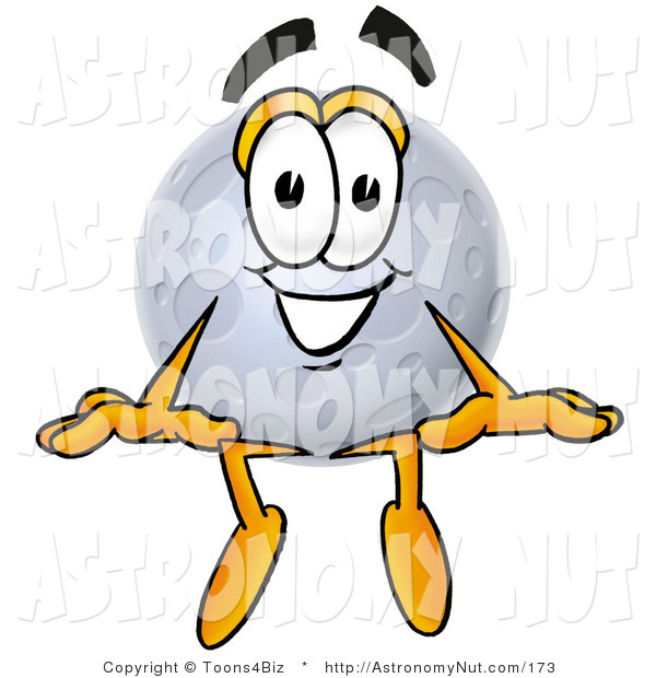 Clipart of a Smiling Full Moon Mascot Cartoon Character Sitting by.