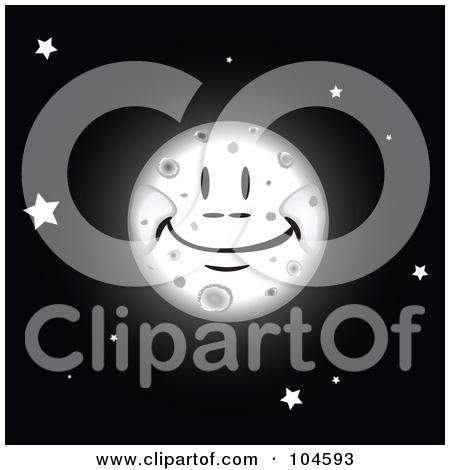 Smiling Full Moon Clipart.