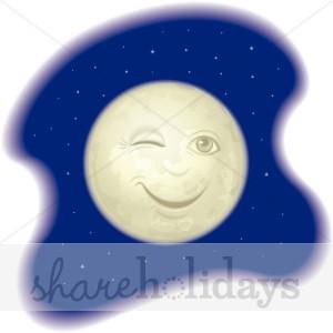 Winking Full Moon Background.