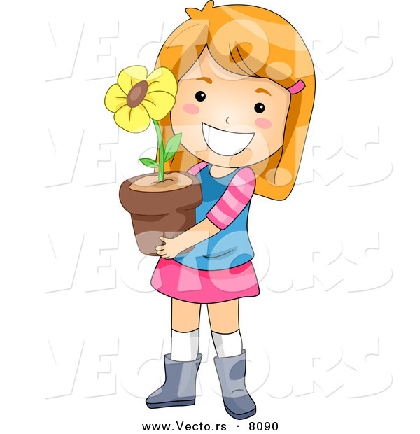 Showing post & media for Cartoon girl smiling holding flowers.