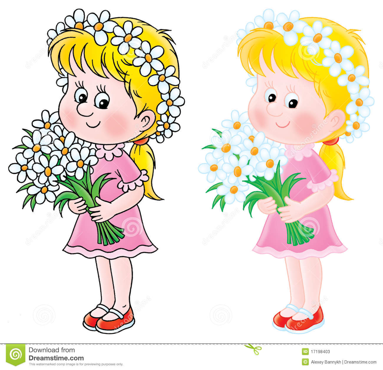 Showing post & media for Cartoon girl holding flowers.