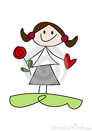 Cartoon Girl Holding Flower And Heart Stock Images.