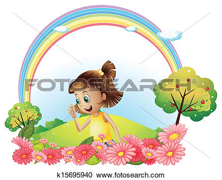 Clipart of A smiling girl at the garden with pink blooming flowers.