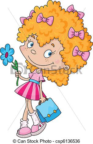 Clip Art Vector of smiling girl and flower.