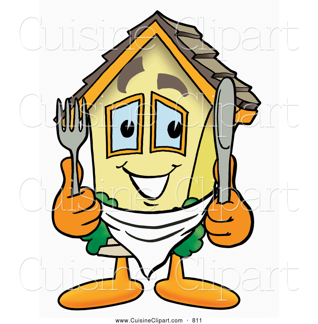 Cuisine Clipart of a Smiling House Mascot Cartoon Character.