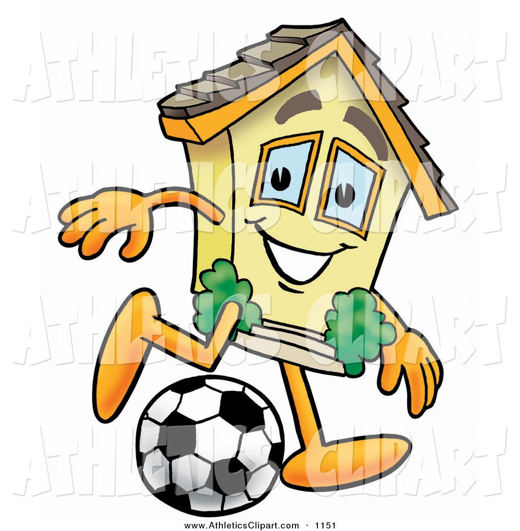 Clip Art of a Smiling House Mascot Cartoon Character Kicking.