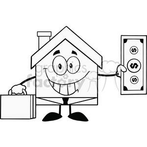6451 Royalty Free Clip Art Black and White Smiling House Businessman  Carrying A Briefcase And Showing A Dollar Bill clipart. Royalty.
