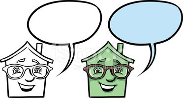 Cartoon Smiling House IN Glasses Face stock vectors.
