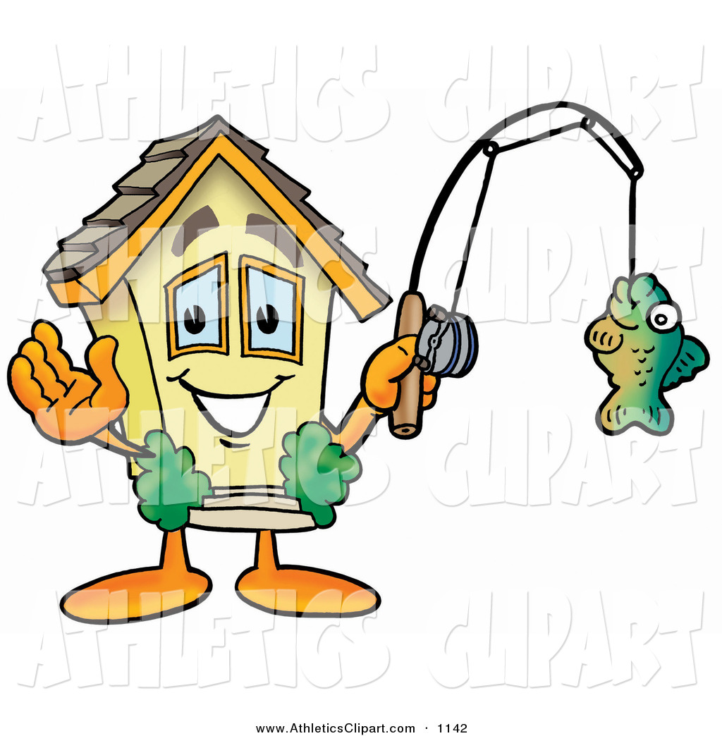 Clip Art of a Smiling House Mascot Cartoon Character Holding.
