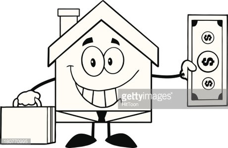 Black and White Smiling House Businessman Showing A Dollar.