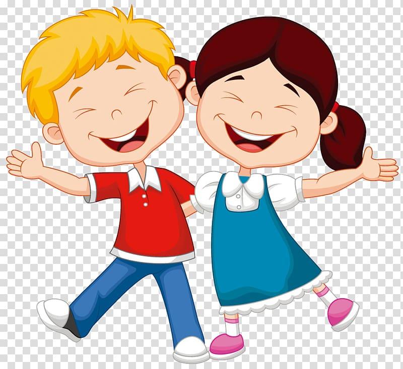 Cartoon Child Illustration, child, smiling boy and girl.