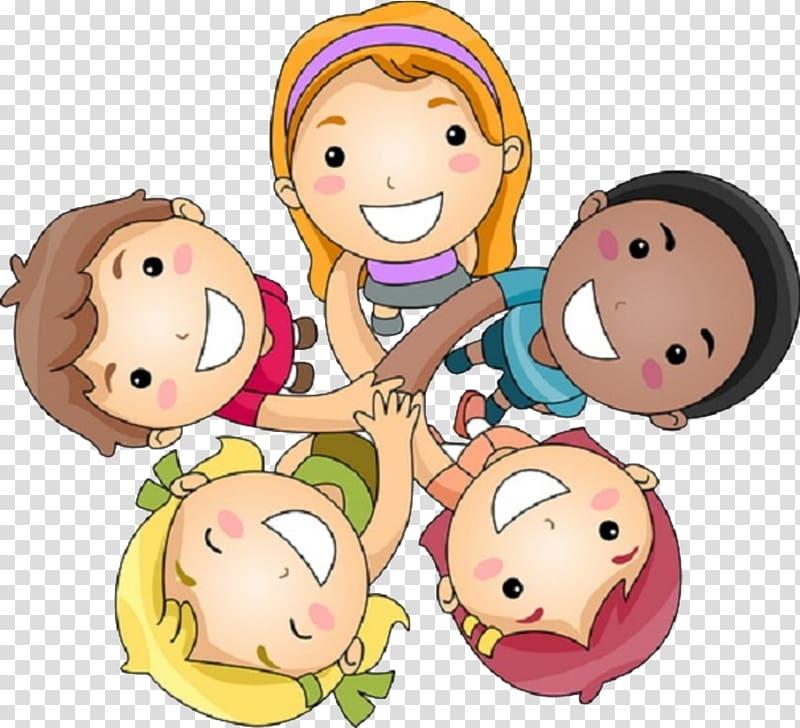 Smiling kids holding hands together , Friendship Day.