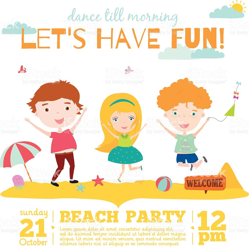 Vector Invitation Card On Summer Beach Party With Smiling Kids.