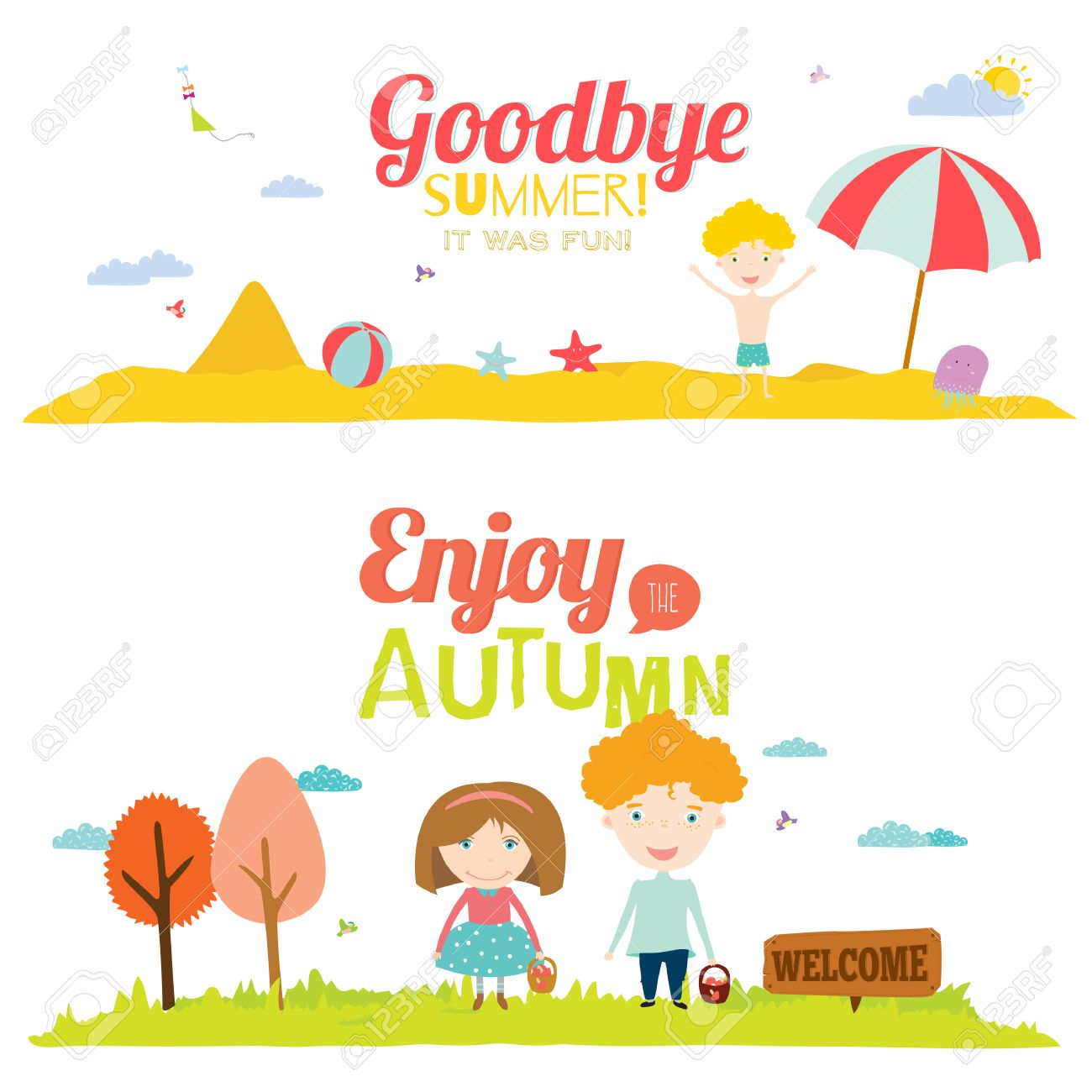 Vector Illustration Banners With Funny Happy Smiling Kids. Bright.