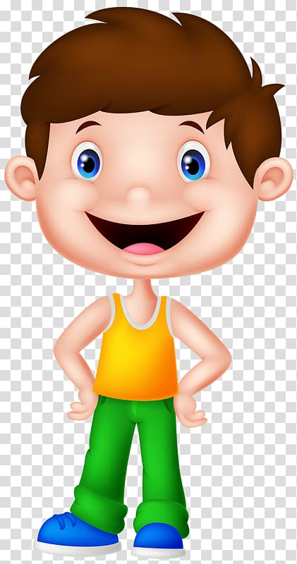 Smiling boy wearing tank top illustration, Cartoon.