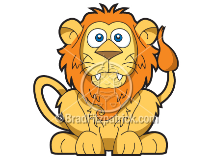 Smiling Lion Clip Art.