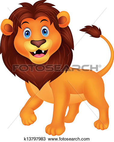 Clip Art of Lion cartoon walking k17233527.