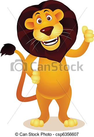 Vectors Illustration of Lion cartoon csp6356607.