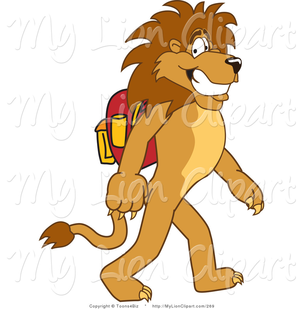 Clipart of a Smiling Lion Character Mascot Walking to School by.