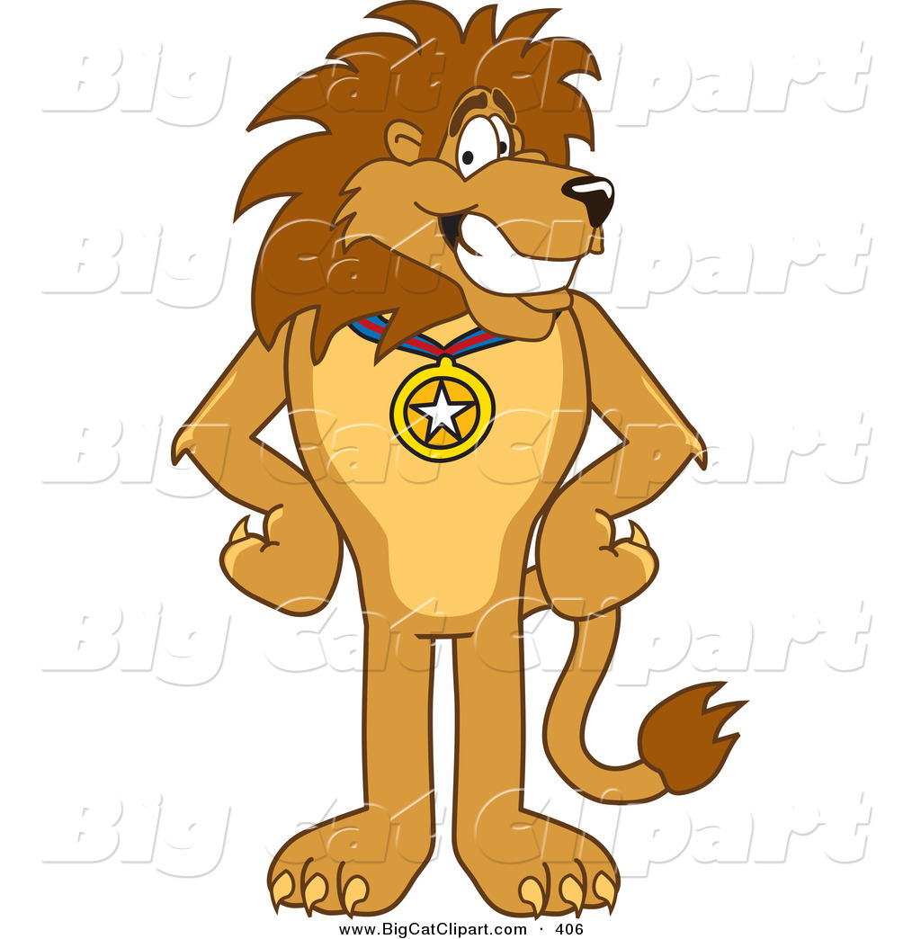 Big Cat Cartoon Vector Clipart of a Lion Character Mascot Wearing.