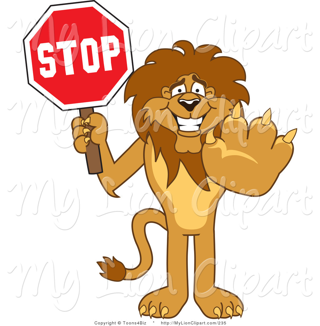 Clipart of a Smiling Lion Character Mascot Holding a Stop Sign by.
